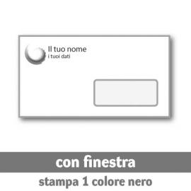 250 Buste 22x11 cm con finestra - stampa 1 colore nero